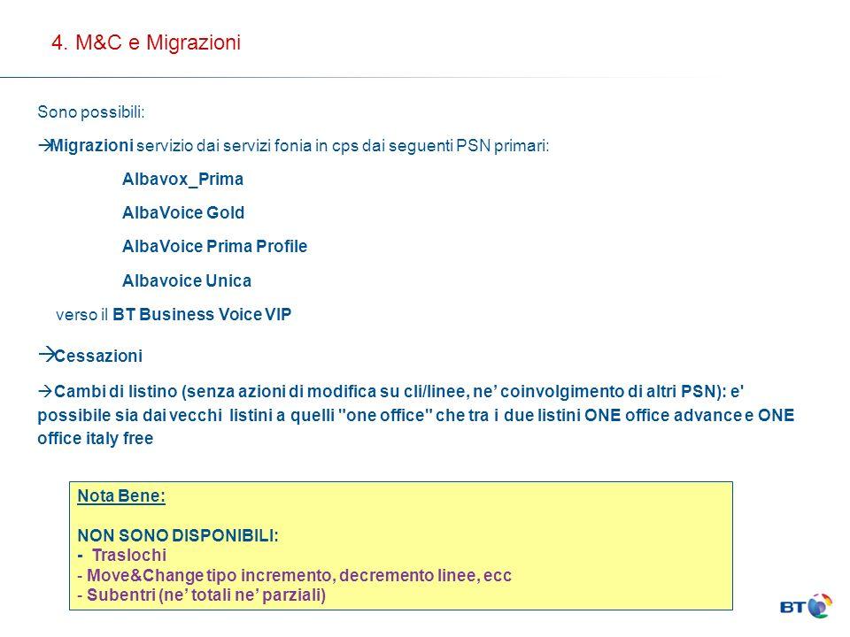 Sono possibili: Migrazioni servizio dai servizi fonia in cps dai seguenti PSN primari: Albavox_Prima AlbaVoice Gold AlbaVoice Prima Profile Albavoice