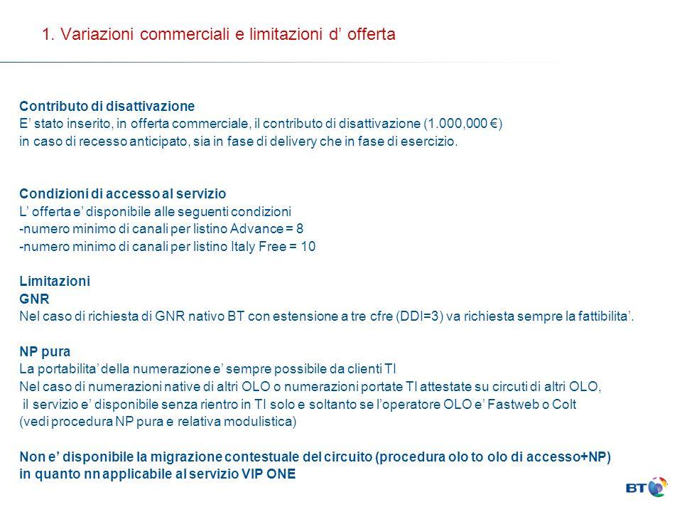 1. Variazioni commerciali e limitazioni d offerta Contributo di disattivazione E stato inserito, in offerta commerciale, il contributo di disattivazio