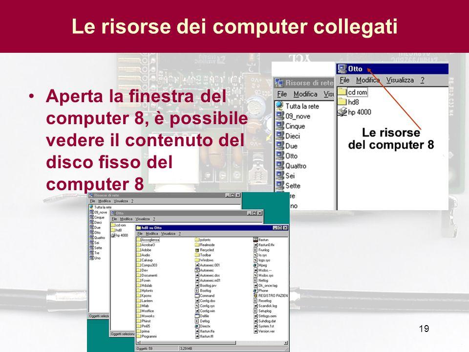 19 Le risorse dei computer collegati Aperta la finestra del computer 8, è possibile vedere il contenuto del disco fisso del computer 8