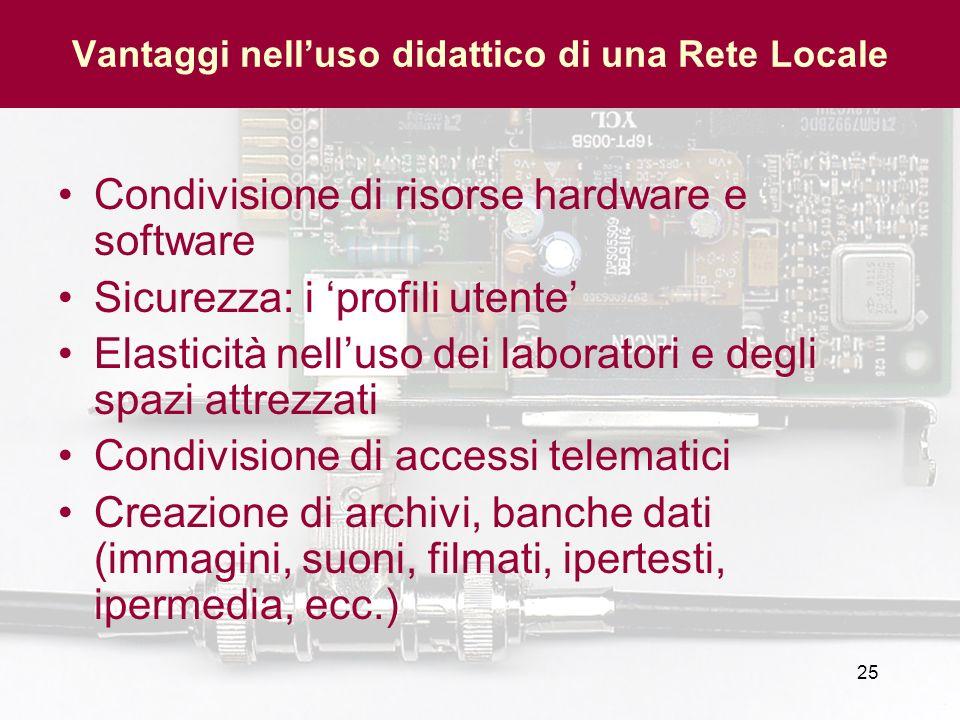 25 Vantaggi nelluso didattico di una Rete Locale Condivisione di risorse hardware e software Sicurezza: i profili utente Elasticità nelluso dei labora