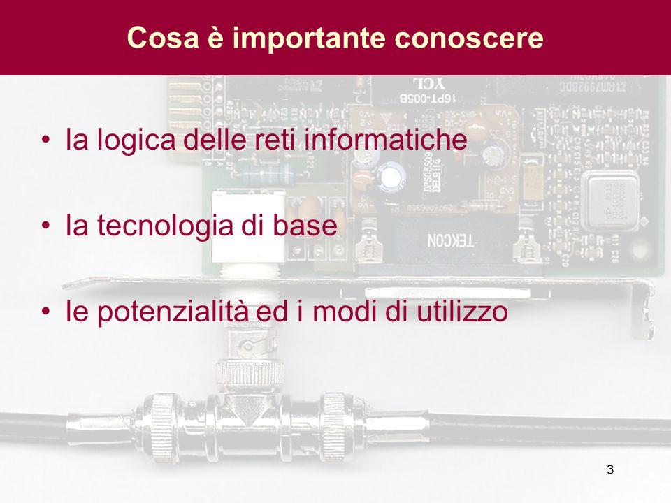 3 Cosa è importante conoscere la logica delle reti informatiche la tecnologia di base le potenzialità ed i modi di utilizzo