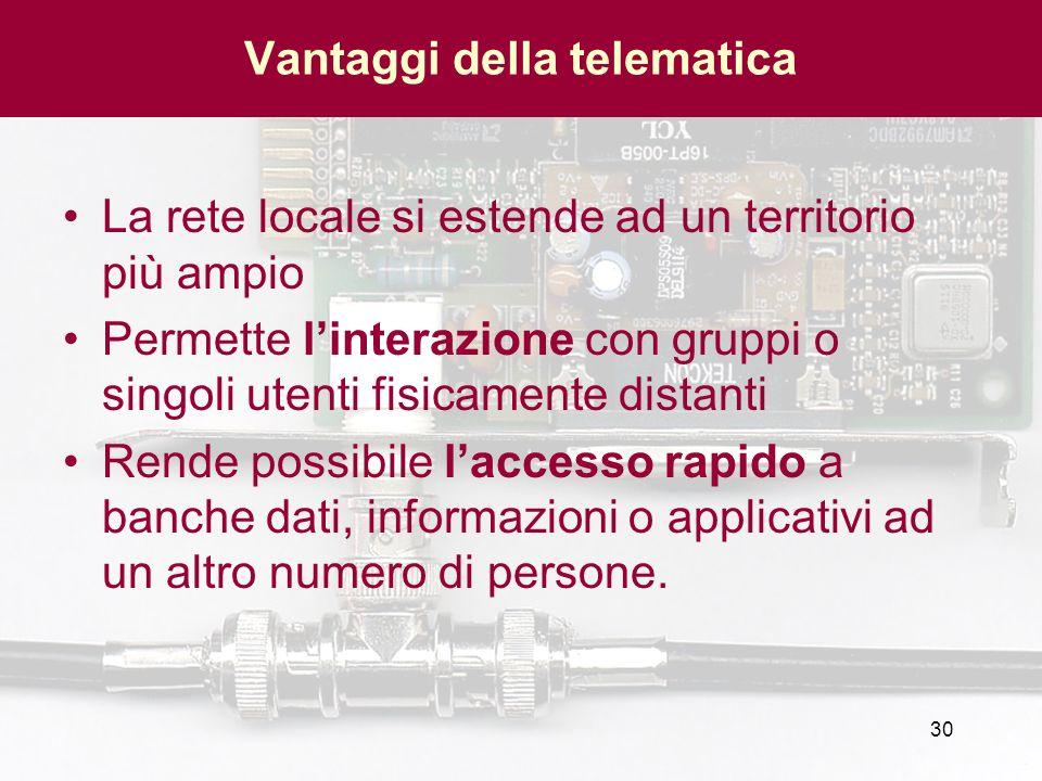 30 Vantaggi della telematica La rete locale si estende ad un territorio più ampio Permette linterazione con gruppi o singoli utenti fisicamente distan