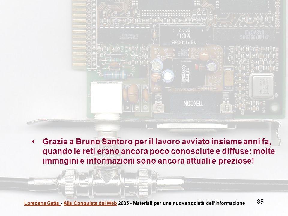 35 Loredana Gatta Loredana Gatta - Alla Conquista del Web 2005 - Materiali per una nuova società dellinformazioneAlla Conquista del Web Grazie a Bruno
