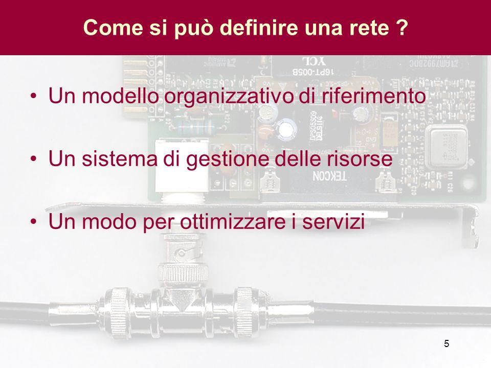 5 Come si può definire una rete ? Un modello organizzativo di riferimento Un sistema di gestione delle risorse Un modo per ottimizzare i servizi