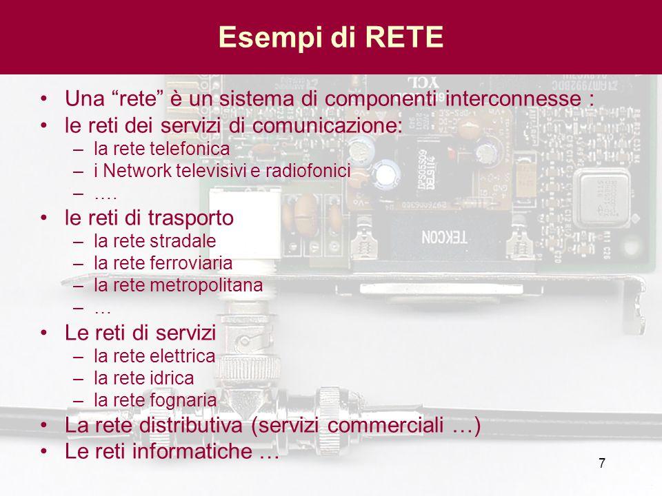 7 Esempi di RETE Una rete è un sistema di componenti interconnesse : le reti dei servizi di comunicazione: –la rete telefonica –i Network televisivi e
