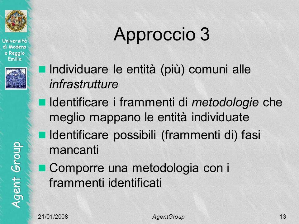 Approccio 3 Individuare le entità (più) comuni alle infrastrutture Identificare i frammenti di metodologie che meglio mappano le entità individuate Identificare possibili (frammenti di) fasi mancanti Comporre una metodologia con i frammenti identificati 21/01/2008AgentGroup13