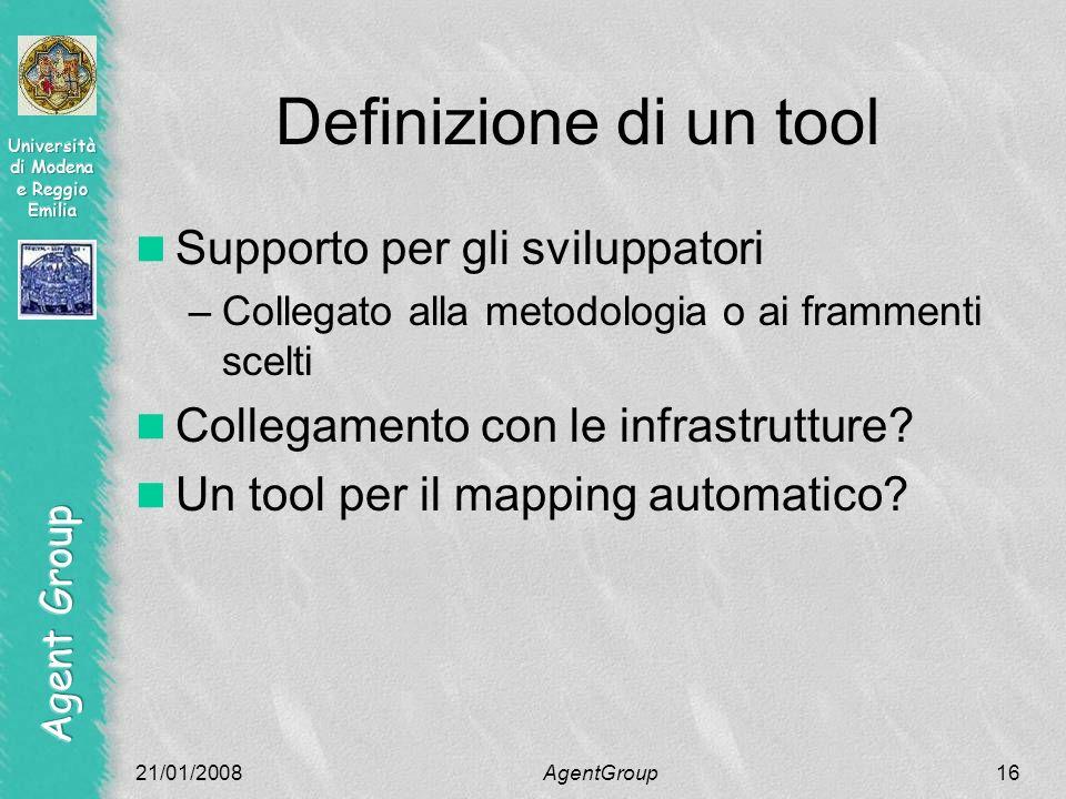 Definizione di un tool Supporto per gli sviluppatori –Collegato alla metodologia o ai frammenti scelti Collegamento con le infrastrutture.