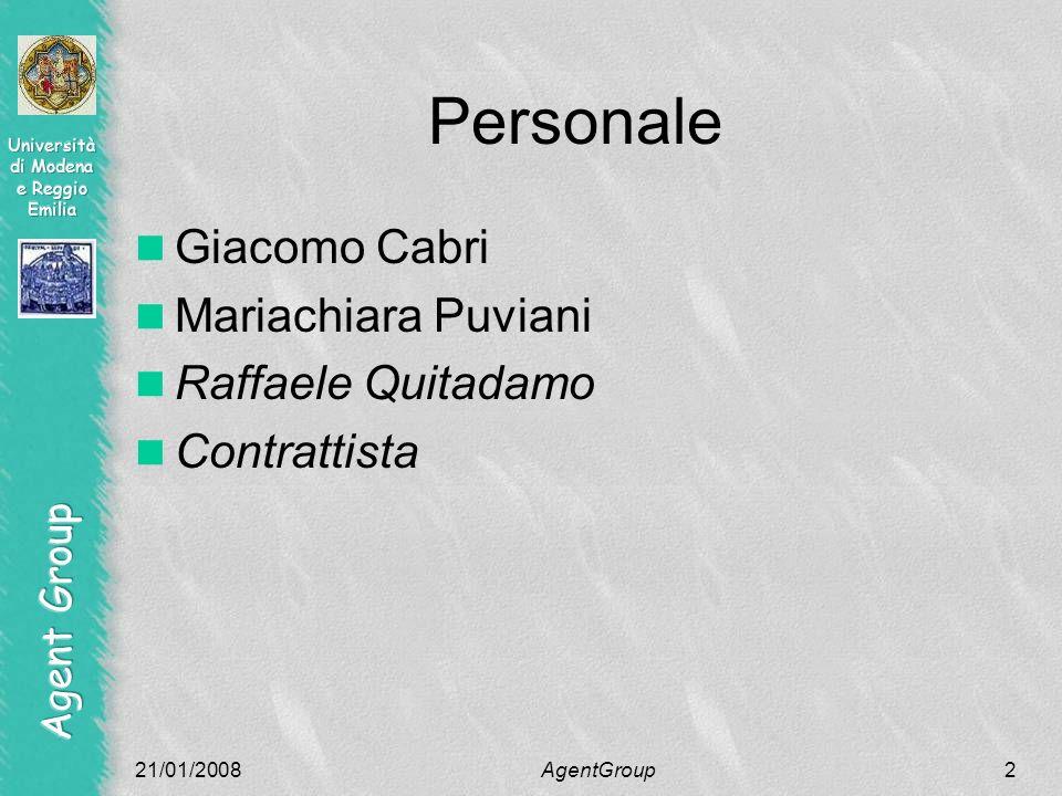 Personale Giacomo Cabri Mariachiara Puviani Raffaele Quitadamo Contrattista 21/01/2008AgentGroup2