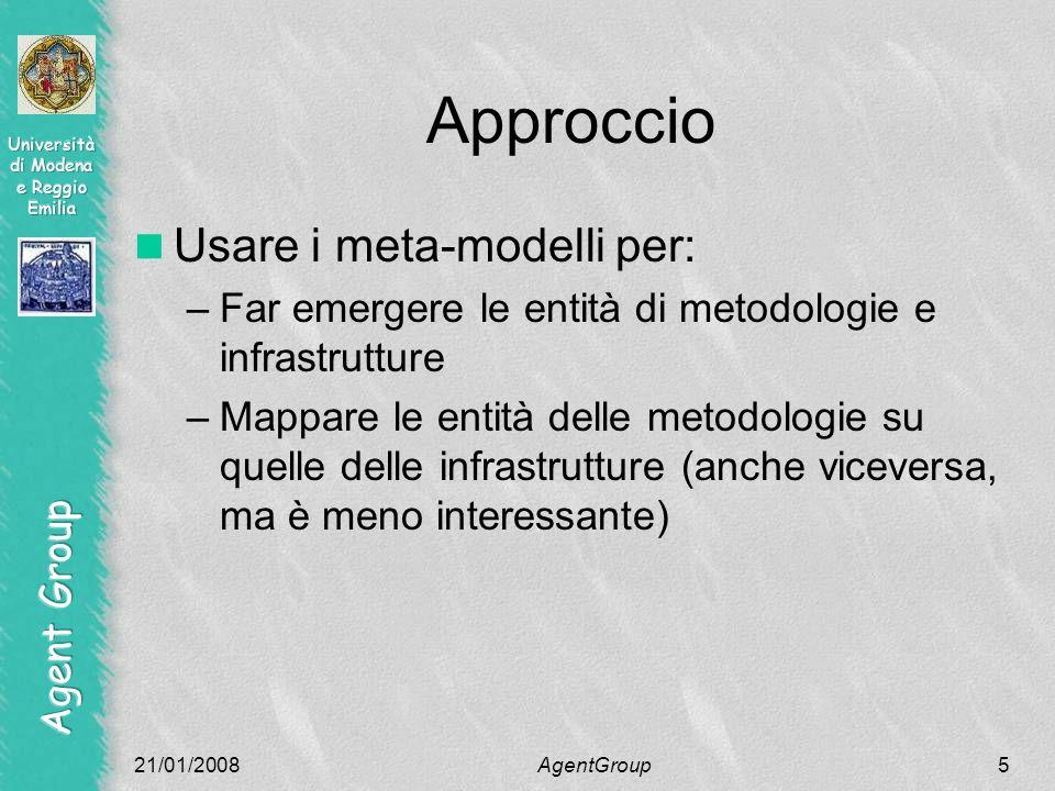 Approccio Usare i meta-modelli per: –Far emergere le entità di metodologie e infrastrutture –Mappare le entità delle metodologie su quelle delle infrastrutture (anche viceversa, ma è meno interessante) 21/01/2008AgentGroup5