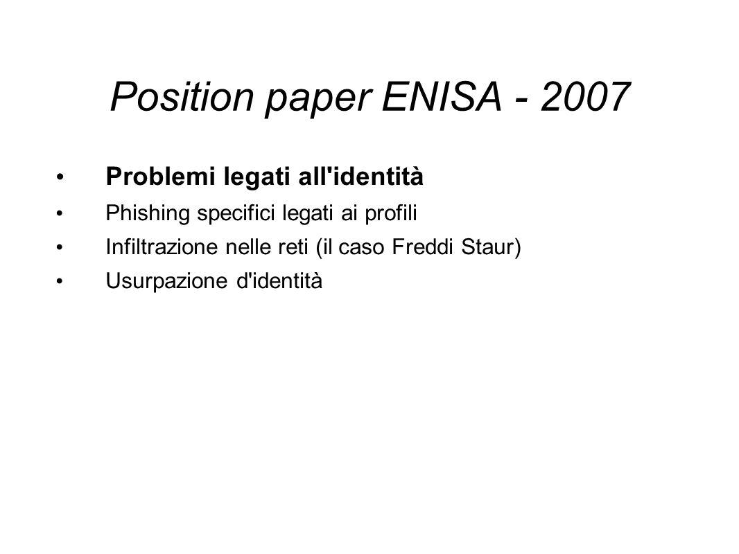 Position paper ENISA - 2007 Problemi legati all identità Phishing specifici legati ai profili Infiltrazione nelle reti (il caso Freddi Staur) Usurpazione d identità