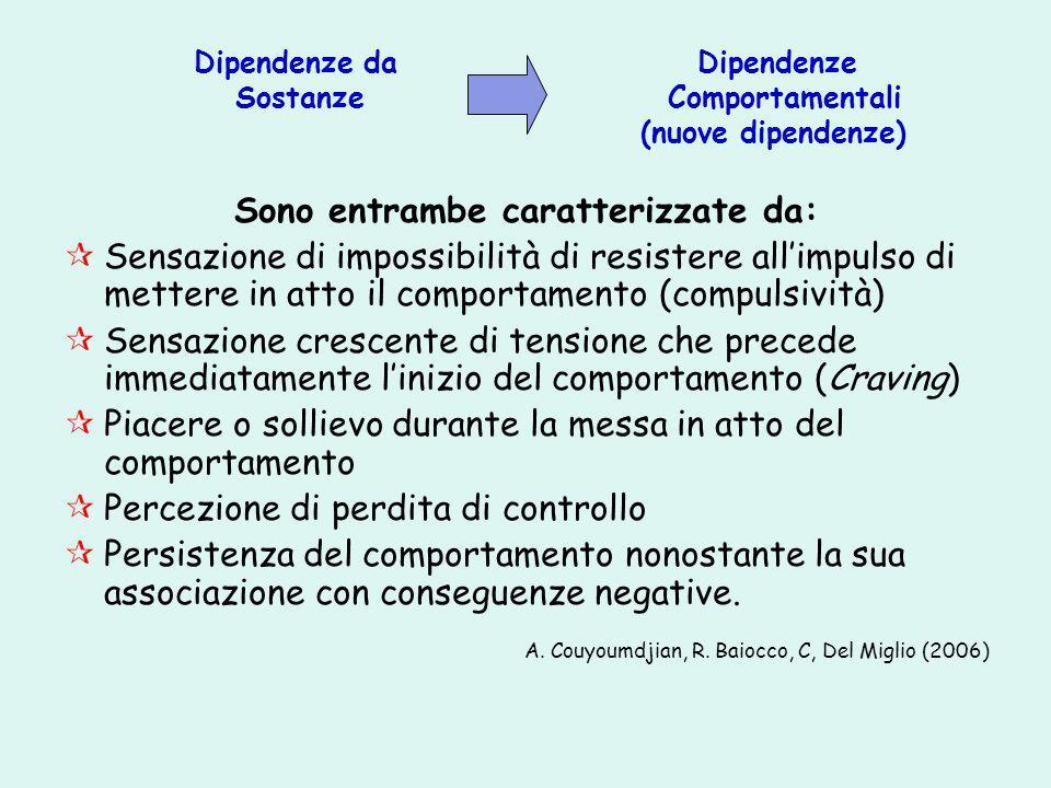 Dipendenze da Dipendenze Sostanze Comportamentali (nuove dipendenze) Sono entrambe caratterizzate da: Sensazione di impossibilità di resistere allimpu