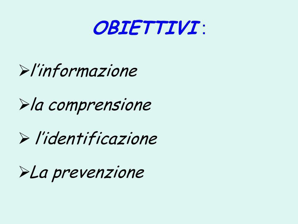 OBIETTIVI : linformazione la comprensione lidentificazione La prevenzione