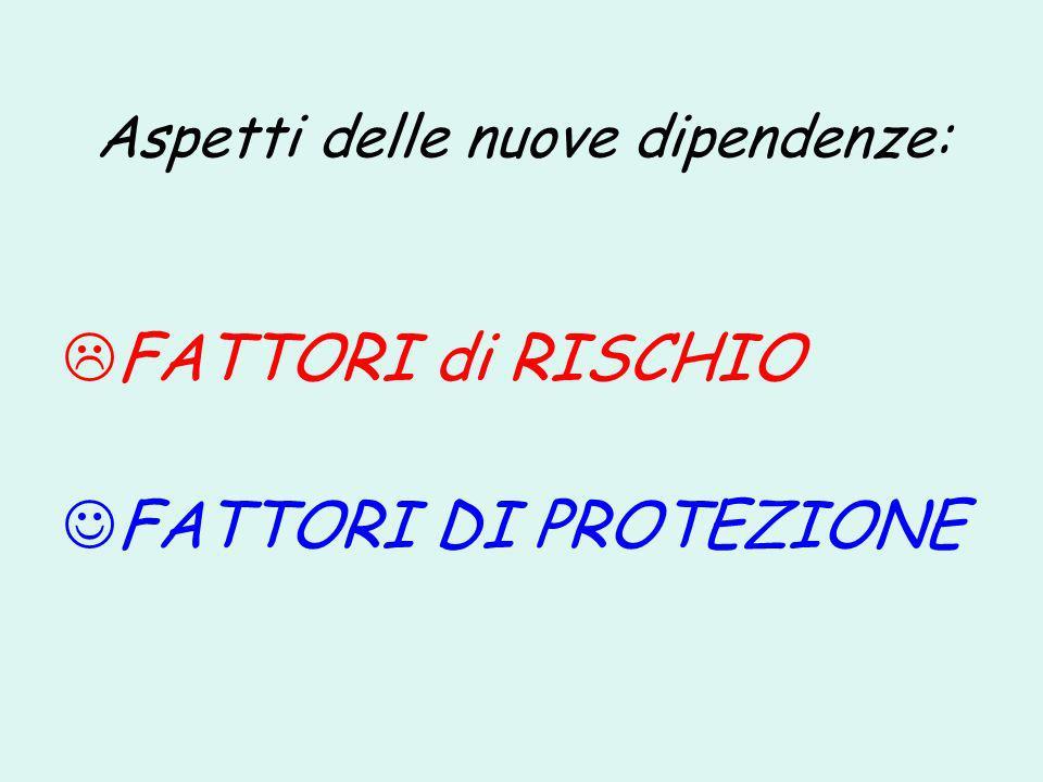 Aspetti delle nuove dipendenze: FATTORI di RISCHIO FATTORI DI PROTEZIONE