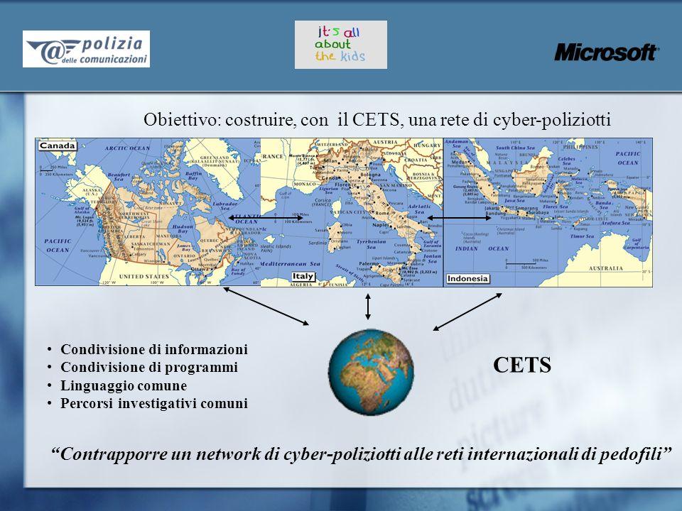 Contrapporre un network di cyber-poliziotti alle reti internazionali di pedofili Obiettivo: costruire, con il CETS, una rete di cyber-poliziotti Condi