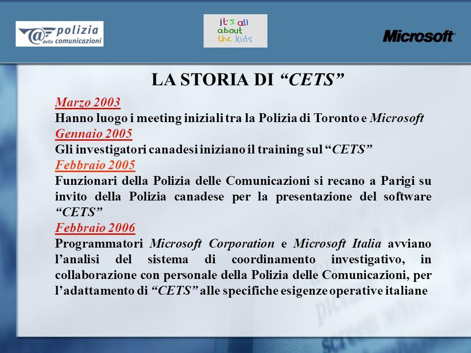 Marzo 2003 Hanno luogo i meeting iniziali tra la Polizia di Toronto e Microsoft Gennaio 2005 Gli investigatori canadesi iniziano il training sul CETS