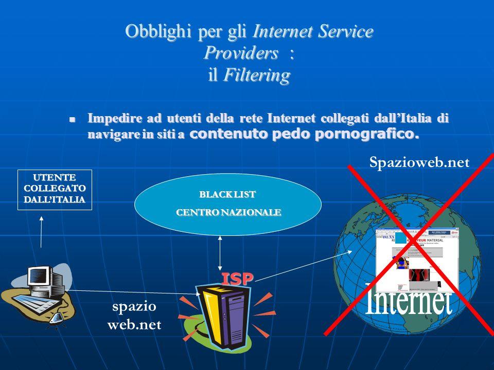 Obblighi per gli Internet Service Providers : il Filtering Impedire ad utenti della rete Internet collegati dallItalia di navigare in siti a contenuto pedo pornografico.