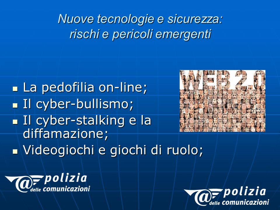 La pedofilia on-line; La pedofilia on-line; Il cyber-bullismo; Il cyber-bullismo; Il cyber-stalking e la diffamazione; Il cyber-stalking e la diffamazione; Videogiochi e giochi di ruolo; Videogiochi e giochi di ruolo; Nuove tecnologie e sicurezza: rischi e pericoli emergenti