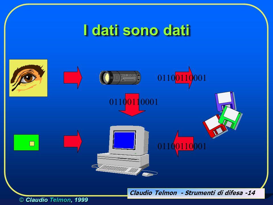 Claudio Telmon - Strumenti di difesa -14 © Claudio Telmon, 1999 I dati sono dati 01100110001