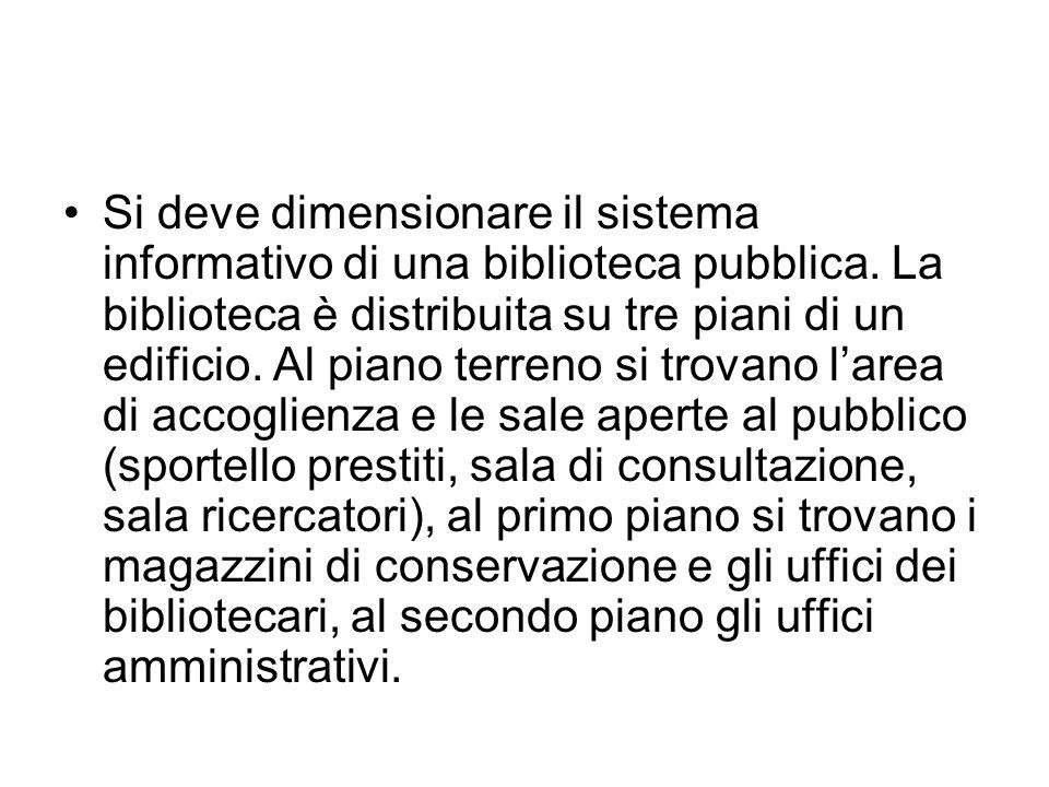 Si deve dimensionare il sistema informativo di una biblioteca pubblica. La biblioteca è distribuita su tre piani di un edificio. Al piano terreno si t
