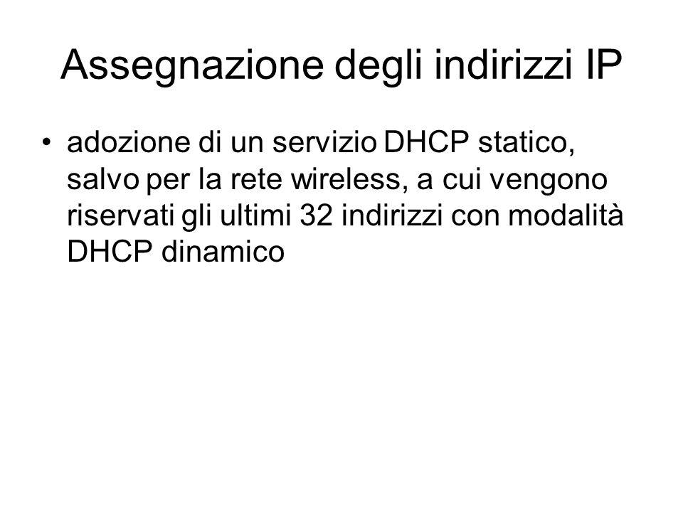 Assegnazione degli indirizzi IP adozione di un servizio DHCP statico, salvo per la rete wireless, a cui vengono riservati gli ultimi 32 indirizzi con