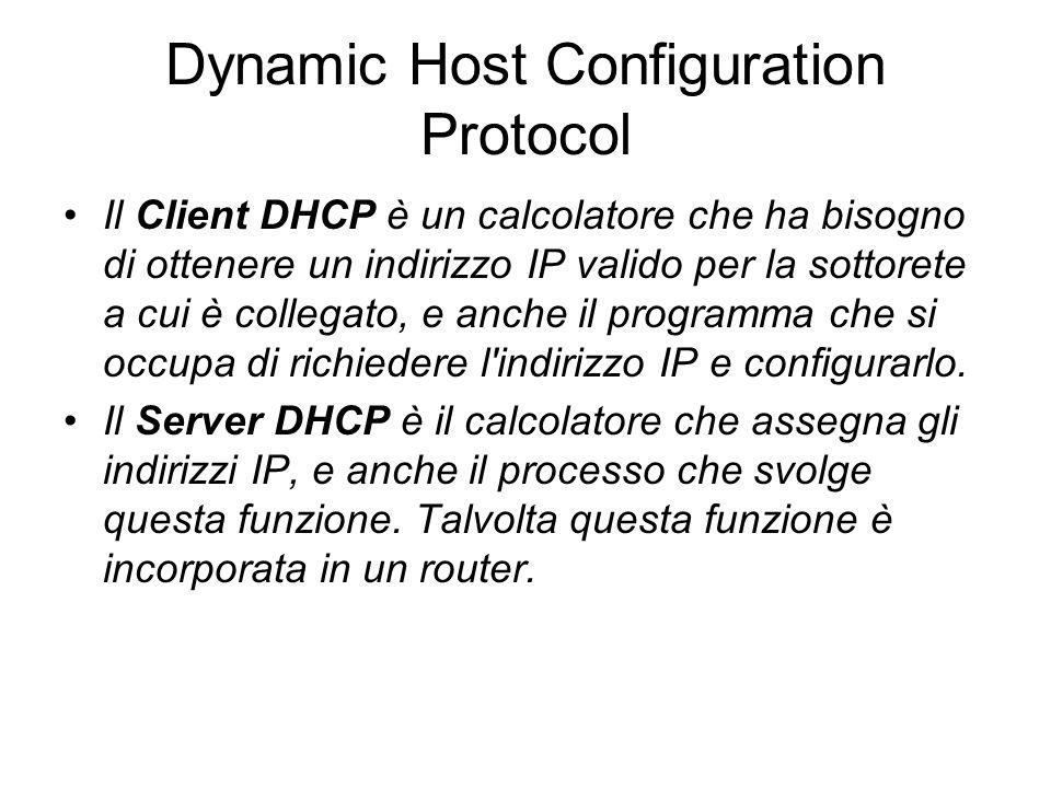 Dynamic Host Configuration Protocol Il Client DHCP è un calcolatore che ha bisogno di ottenere un indirizzo IP valido per la sottorete a cui è collega