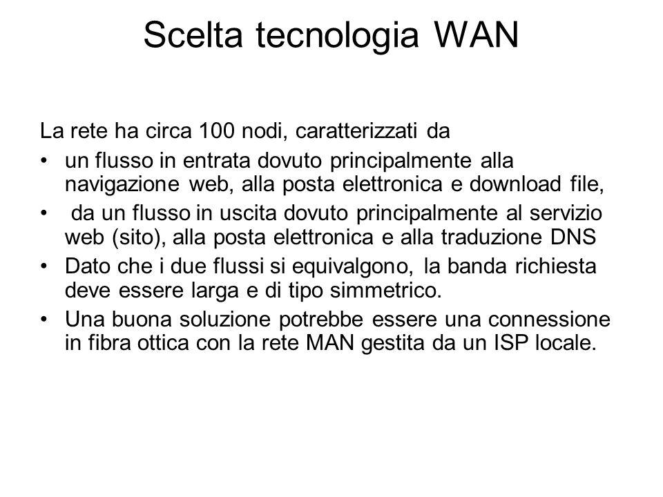 Scelta tecnologia WAN La rete ha circa 100 nodi, caratterizzati da un flusso in entrata dovuto principalmente alla navigazione web, alla posta elettro