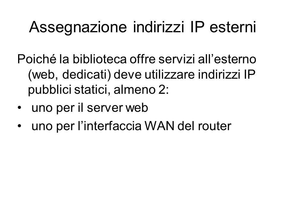 Assegnazione indirizzi IP esterni Poiché la biblioteca offre servizi allesterno (web, dedicati) deve utilizzare indirizzi IP pubblici statici, almeno