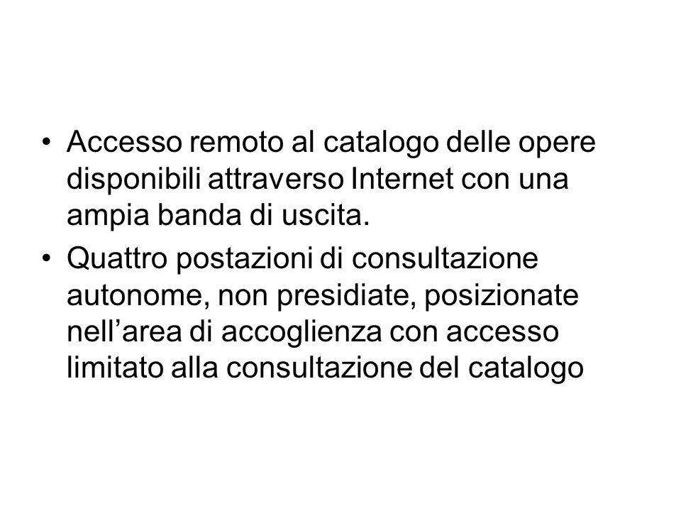 Accesso remoto al catalogo delle opere disponibili attraverso Internet con una ampia banda di uscita. Quattro postazioni di consultazione autonome, no