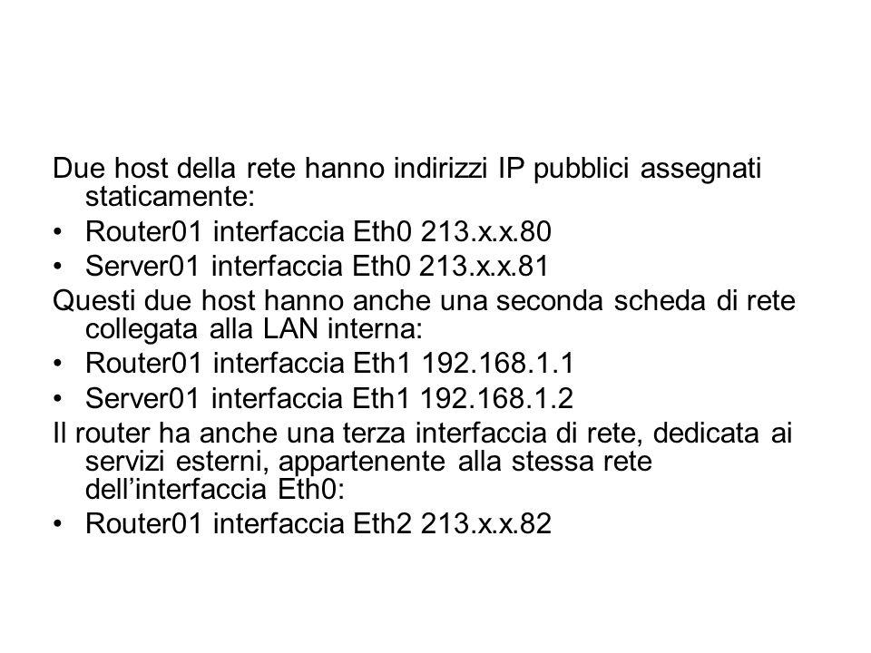 Due host della rete hanno indirizzi IP pubblici assegnati staticamente: Router01 interfaccia Eth0 213.x.x.80 Server01 interfaccia Eth0 213.x.x.81 Ques