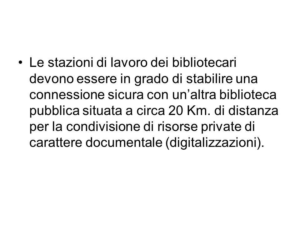 Le stazioni di lavoro dei bibliotecari devono essere in grado di stabilire una connessione sicura con unaltra biblioteca pubblica situata a circa 20 K