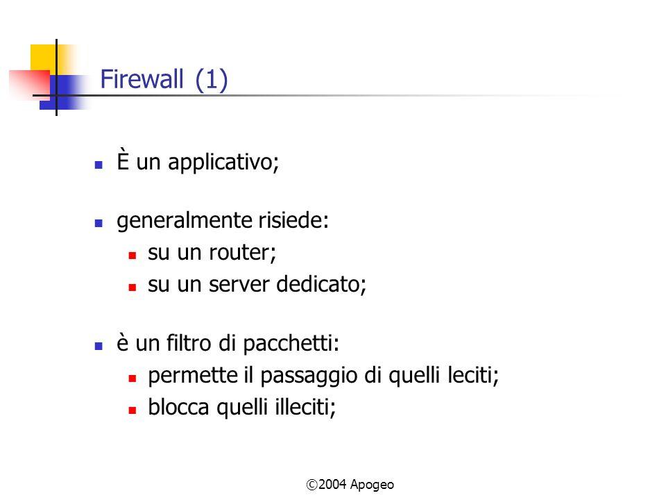 ©2004 Apogeo Firewall (1) È un applicativo; generalmente risiede: su un router; su un server dedicato; è un filtro di pacchetti: permette il passaggio di quelli leciti; blocca quelli illeciti;