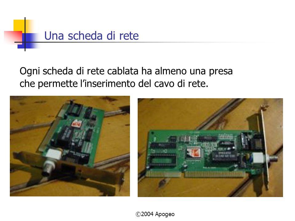 ©2004 Apogeo Una scheda di rete Ogni scheda di rete cablata ha almeno una presa che permette linserimento del cavo di rete.