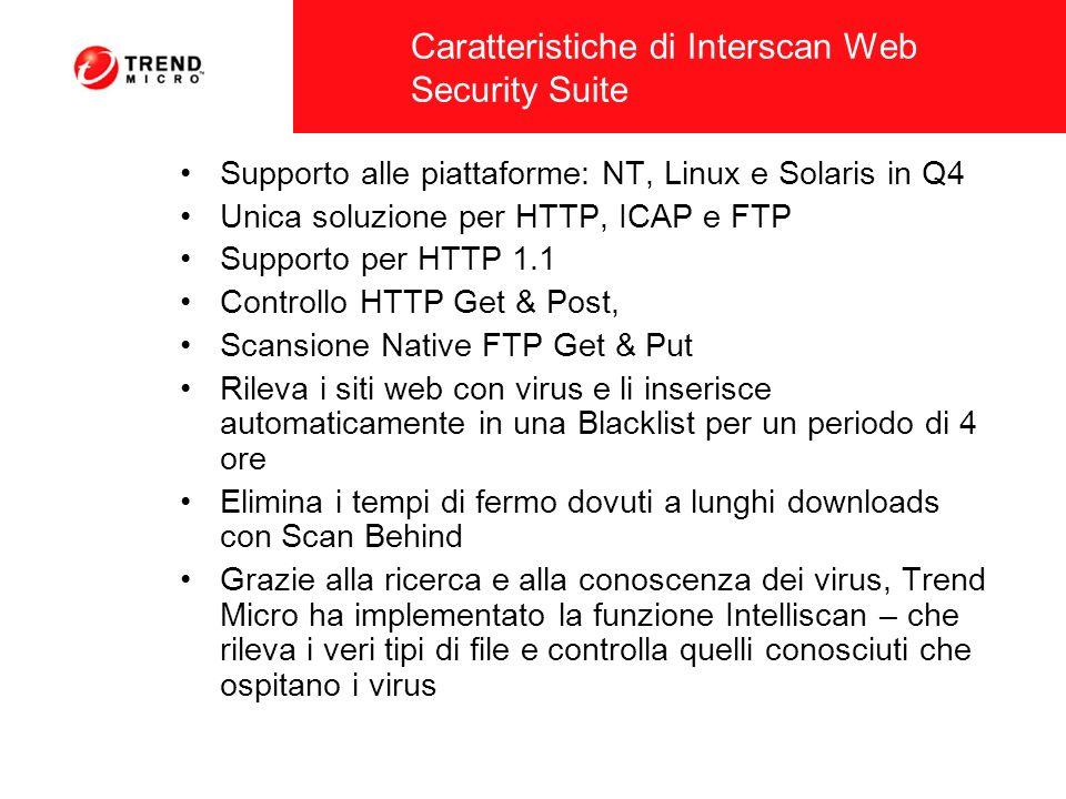Caratteristiche di Interscan Web Security Suite Supporto alle piattaforme: NT, Linux e Solaris in Q4 Unica soluzione per HTTP, ICAP e FTP Supporto per