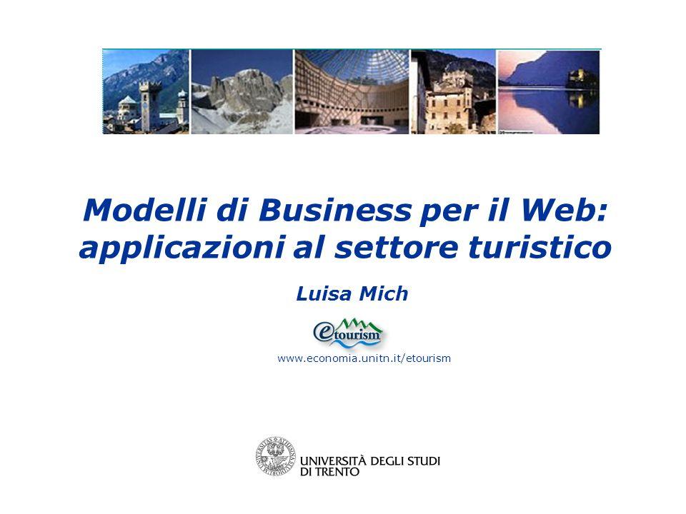 Luisa Mich www.economia.unitn.it/etourism Modelli di Business per il Web: applicazioni al settore turistico