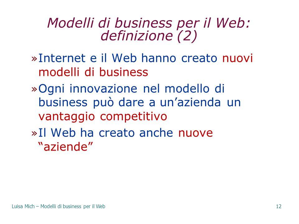 Modelli di business per il Web: definizione (2) » Internet e il Web hanno creato nuovi modelli di business » Ogni innovazione nel modello di business