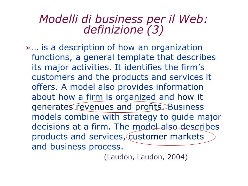 Modelli di business per il Web: definizione (3) » … is a description of how an organization functions, a general template that describes its major act