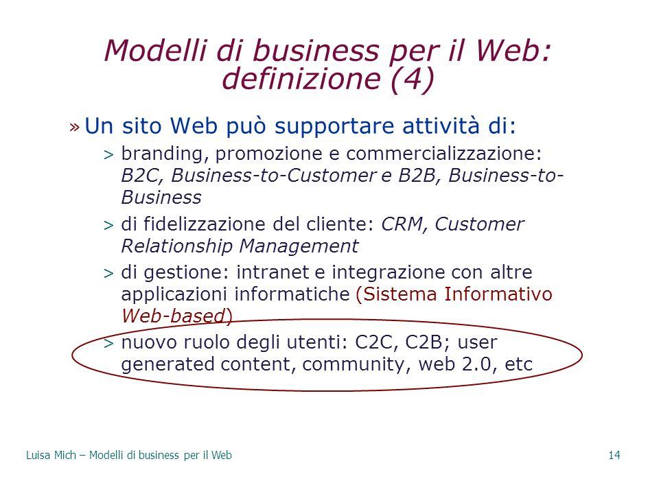 Modelli di business per il Web: definizione (4) » Un sito Web può supportare attività di: > branding, promozione e commercializzazione: B2C, Business-