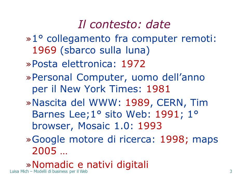 Il contesto: date » 1° collegamento fra computer remoti: 1969 (sbarco sulla luna) » Posta elettronica: 1972 » Personal Computer, uomo dellanno per il