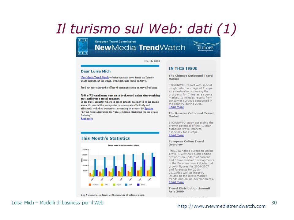Il turismo sul Web: dati (1) Luisa Mich – Modelli di business per il Web30 http://www.newmediatrendwatch.com