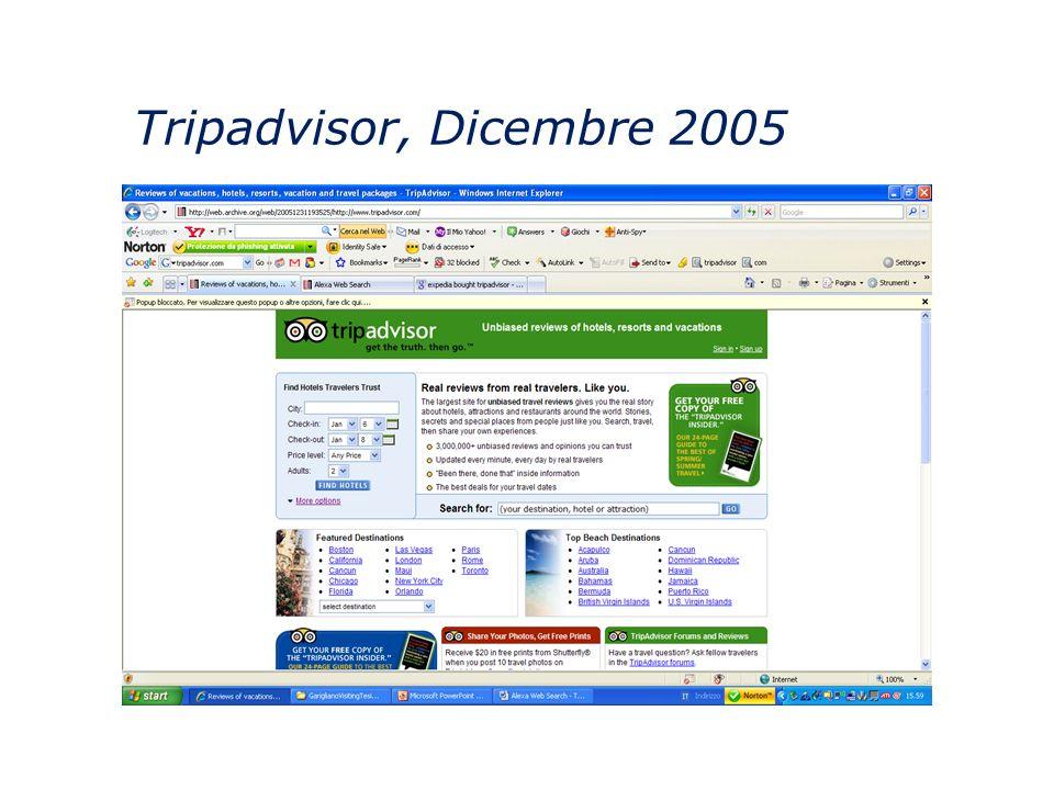 Tripadvisor, Dicembre 2005