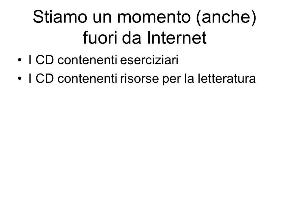 Stiamo un momento (anche) fuori da Internet I CD contenenti eserciziari I CD contenenti risorse per la letteratura