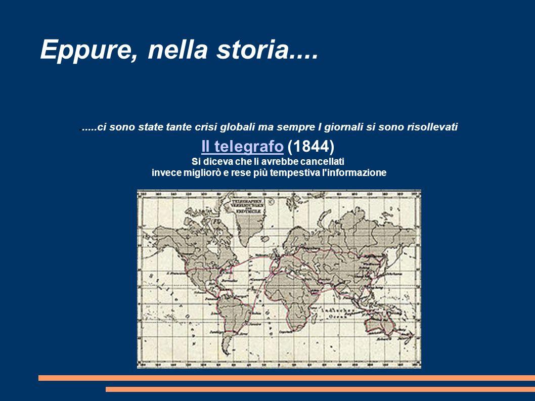 Eppure, nella storia..........ci sono state tante crisi globali ma sempre I giornali si sono risollevati Il telegrafoIl telegrafo (1844) Si diceva che li avrebbe cancellati invece migliorò e rese più tempestiva l informazione