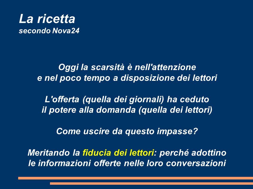 La ricetta secondo Nova24 Oggi la scarsità è nell attenzione e nel poco tempo a disposizione dei lettori L offerta (quella dei giornali) ha ceduto il potere alla domanda (quella dei lettori) Come uscire da questo impasse.