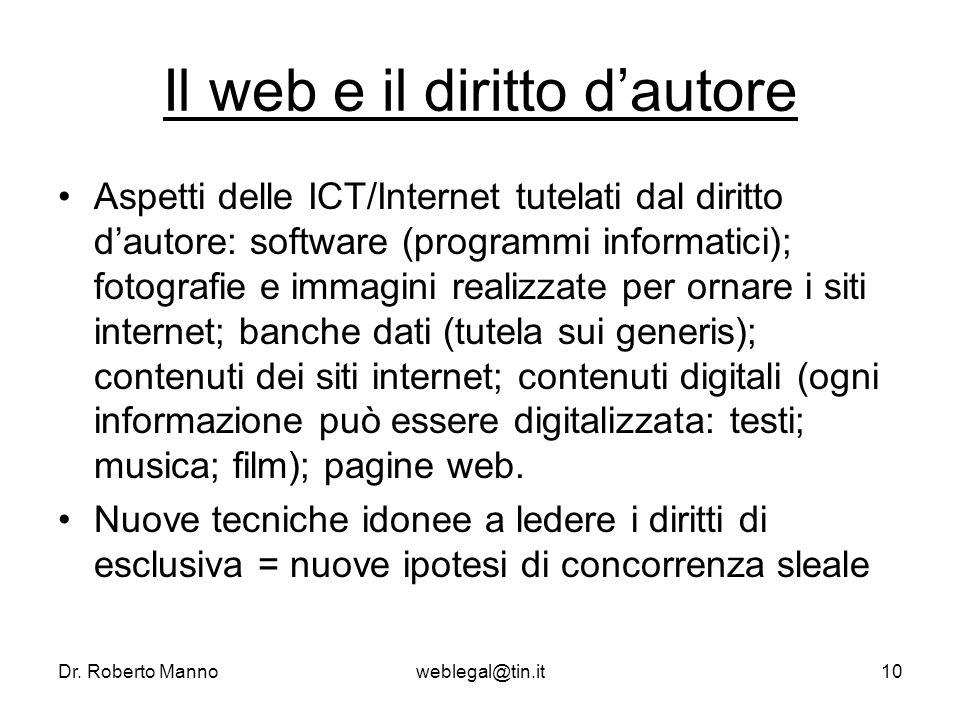 Dr. Roberto Mannoweblegal@tin.it10 Il web e il diritto dautore Aspetti delle ICT/Internet tutelati dal diritto dautore: software (programmi informatic