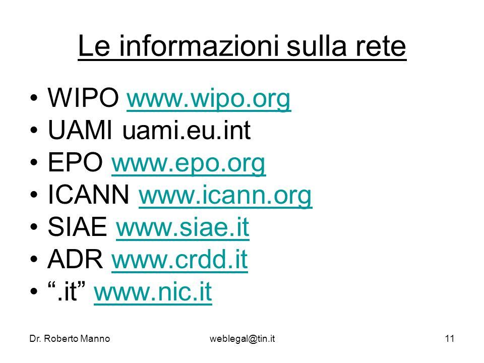 Dr. Roberto Mannoweblegal@tin.it11 Le informazioni sulla rete WIPO www.wipo.orgwww.wipo.org UAMI uami.eu.int EPO www.epo.orgwww.epo.org ICANN www.ican