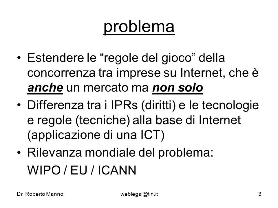 Dr. Roberto Mannoweblegal@tin.it3 problema Estendere le regole del gioco della concorrenza tra imprese su Internet, che è anche un mercato ma non solo