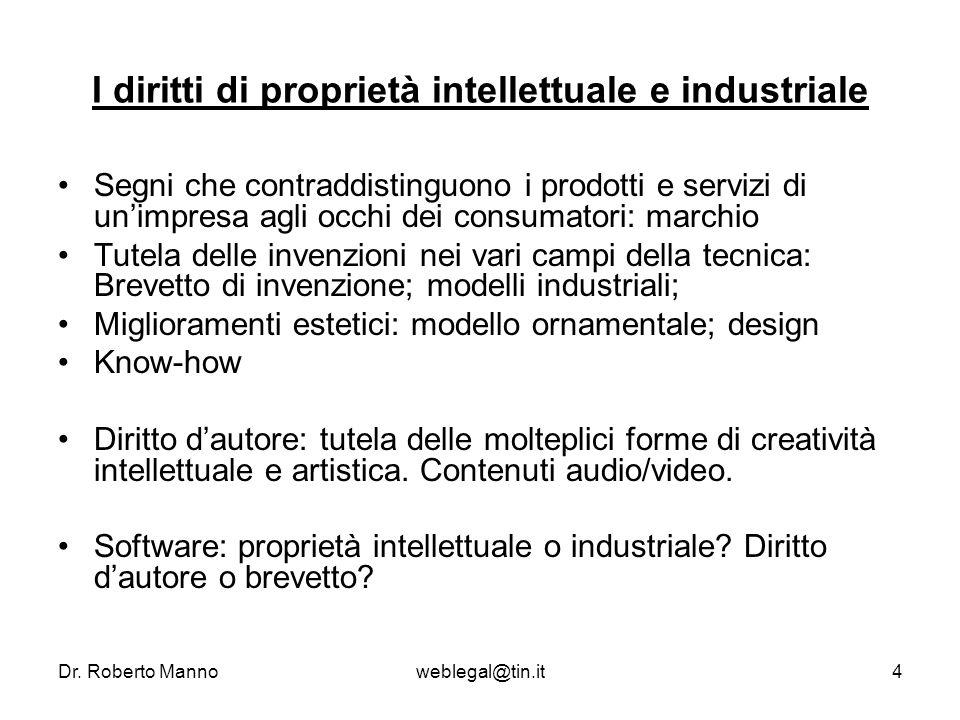 Dr. Roberto Mannoweblegal@tin.it4 I diritti di proprietà intellettuale e industriale Segni che contraddistinguono i prodotti e servizi di unimpresa ag