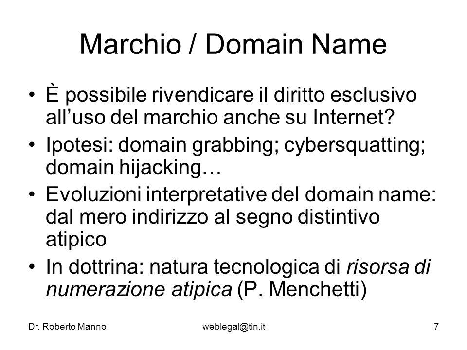 Dr. Roberto Mannoweblegal@tin.it7 Marchio / Domain Name È possibile rivendicare il diritto esclusivo alluso del marchio anche su Internet? Ipotesi: do