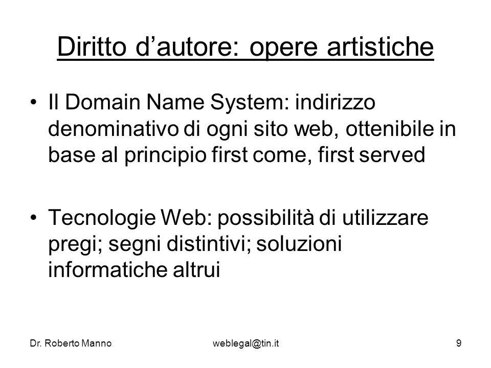 Dr. Roberto Mannoweblegal@tin.it9 Diritto dautore: opere artistiche Il Domain Name System: indirizzo denominativo di ogni sito web, ottenibile in base