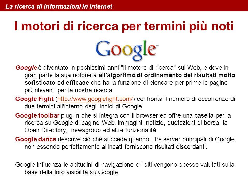 I motori di ricerca per termini più noti Google è diventato in pochissimi anni